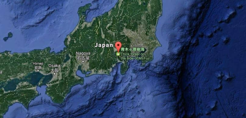 Haunted Suicide Forest: Aokigahara, Japan Map